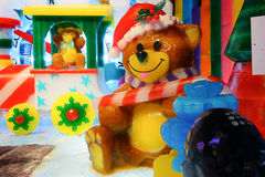 Bear made by ice. A teddy bear made by ice. Seasonal winter decoration Stock Photos