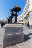 Bear and the Madrono Tree Statue in Madrid, Spain Stock Image