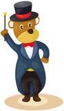 Bear magician. Illustration of isolated bear magician on white Stock Photos
