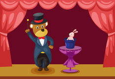 Bear magician showing on stage vector illustration