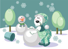 Bear make snowman color 16 Royalty Free Stock Image