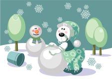 Free Bear Make Snowman Color 16 Royalty Free Stock Image - 11060516