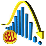 Bear market. Abstract illustration of a downward trend on the stock markets Royalty Free Stock Images