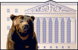 Bear Market. Bear in front of the New York Stock Exchange building vector illustration