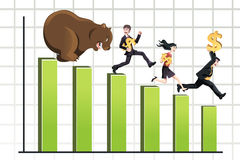 Bear market. A vector illustration of a bear chasing business people down the chart, can be used for bear market concept Stock Images