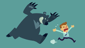 Bear market. Businessman run away from bear(market Stock Photo