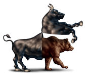 Bear Market Concept. Bear market correction financial business concept as a bull opening up and revealing an emerging bearish stock market  as a metaphor for Royalty Free Stock Photo