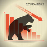 Bear market concept presents stock market with bear in front of. Red downtrend graph on brown paper Stock Images