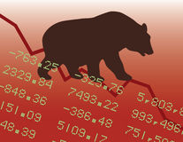 Bear Market in the Red. Illustration of a bear market downtrend Royalty Free Stock Images