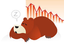 Bear market: sleeping in front of financial stock. Cartoon of sleeping bear in front of rapidly declining stock market graph, illustrating a slow financial Stock Image