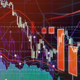 Bear Market - Stock market graphs and charts. Financial and business background royalty free stock photos