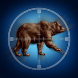 Bear Market Target. Business concept as an icon of targeting investor doubt and lack of confidence in stock trading predicting future price decreases as a Royalty Free Stock Image