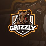 Bear mascot logo design vector with modern illustration concept style for badge, emblem and tshirt printing. grizzly bear vector illustration