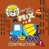 Bear and mixer truck funny animal cartoon,vector illustration. For t shirt and wallpaper or book stock illustration