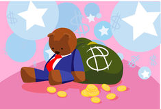 Bear and money bag Stock Image