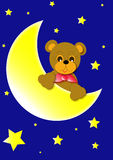 Bear and moon. Bear,moon and star on the blue background illustration Stock Photos