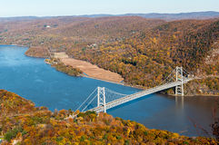 Bear Mountain bridge aerial over Hudson River Royalty Free Stock Images