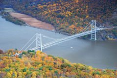 Bear Mountain bridge aerial view in Autumn Royalty Free Stock Photo