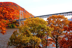 Bear mountain bridge with autumn mountain view Stock Photo