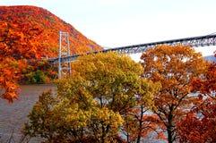 Bear mountain bridge with autumn mountain view. Bear mountain bridge with autumn mountain over hudson river in new york Stock Photo