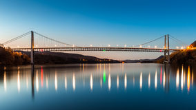 Bear Mountain Bridge at dusk. Stock Image