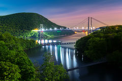Bear Mountain bridge illuminated by night Royalty Free Stock Image