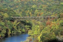 The Bear Mountain Bridge, located in Bear Mountain State Park, New York, spans the Hudson River Royalty Free Stock Images