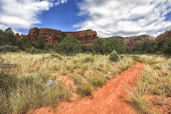 Bear Mountain Trail - Oski Approach in Sedona, Arizona, USA. Bear Mountain Trail - Oski Approach at Boynton Road area in Sedona and Red Rock formation on the stock photo