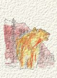 A bear in the mountains in watercolor and ink. Royalty Free Stock Image