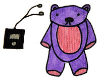 Bear and mp3 player Stock Photo