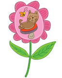 Bear mushroom flower cute Royalty Free Stock Photos