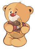 Bear with mushrooms  cartoon Royalty Free Stock Photos