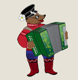 Bear musician. Drawing of a bear with a Russian ornament Stock Photo