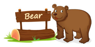 Bear and name plate. Illustration of bear and name plate on a white Stock Image