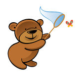 Bear with net chasing butterfly Royalty Free Stock Photography