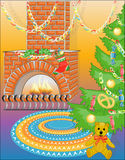 Bear & New Year tree with sweets (vector) Stock Image