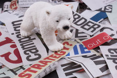 Bear on newspaper titles Stock Images