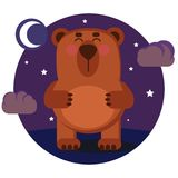Bear at night stock illustration