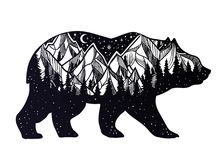 Bear and night forest mountain landscape, double exposure, wildlife tattoo art, fantasy style. Vector isolated illustration vector illustration