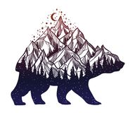 Bear and night forest mountain landscape, double exposure, wildlife tattoo art, fantasy style. royalty free illustration