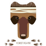 Bear ninja head. Vector cartoon bear head. Forest Fighter. Animal illustration for posters, greeting cards, book cover, flyers, banner, web, game designs Royalty Free Stock Photography