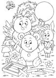 Bear, owl and piglet draw. Black-and-white illustration (coloring page): bear-cub, owlet and piglet drawing with pencils Stock Images
