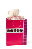 Bear in the packet. Teddy Bear toy in the gift packet Royalty Free Stock Photography
