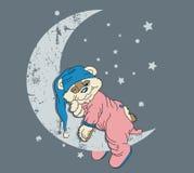 Bear in pajamas. Illustration of a bear wearing pajamas sleeping on a crescent moon Stock Photography