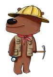 Bear paleontologist. Digital illustration of a bear wearing archaeologist's hat Stock Photo