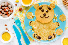 Bear pancakes with honey and nuts - creative idea for children b Royalty Free Stock Photos