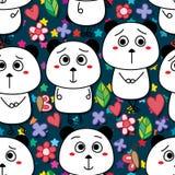 Bear panda cute silly seamless pattern Stock Photo