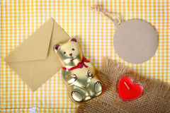 Bear and paper tag concept valentine background. Royalty Free Stock Photos