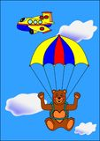Bear paratrooper Royalty Free Stock Photography
