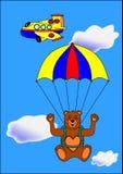 Bear paratrooper. Animal aero travel parachute children stock illustration